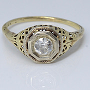 Beautiful Art Deco 14k Filigree Yellow Gold & Diamond Engagement Ring