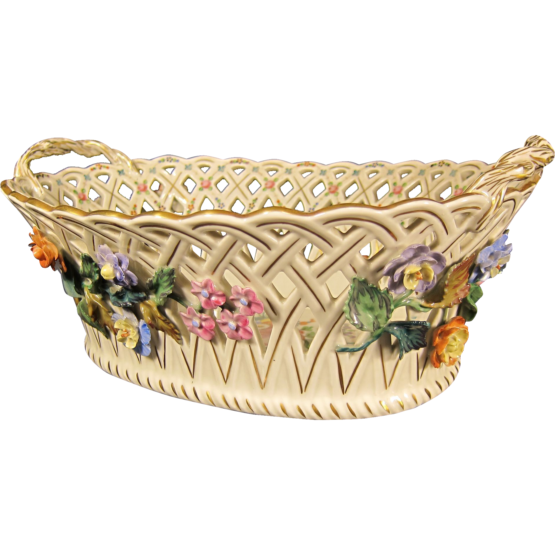 Antique German Porcelain Centerpiece Basket by Dresden Germany 1900s