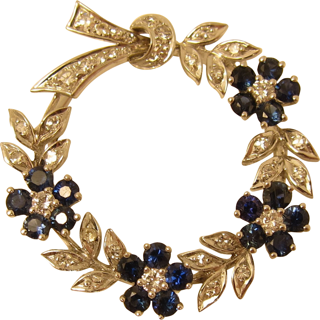 Gorgeous 14k White Gold Flower Garland Brooch w/ Diamonds and Sapphires