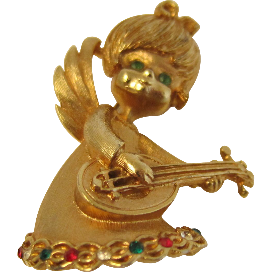 Vintage Winged Angel Cherub Playing Mandolin Signed Brooch by Mylu