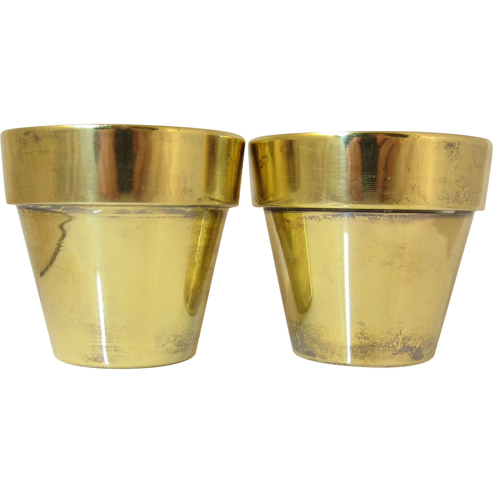 Pair Of Tiffany Sterling Silver Gold Vermeil Small Vases