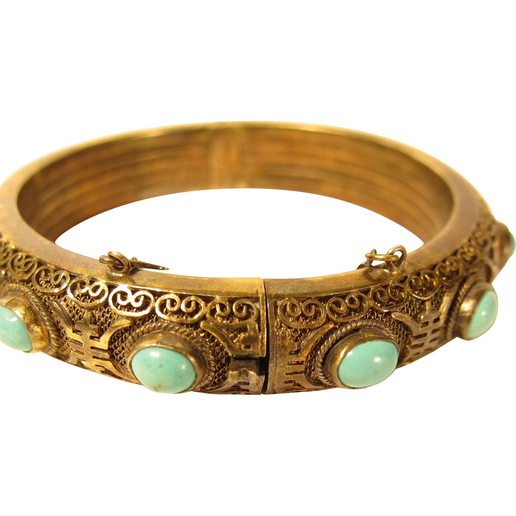 Vintage Chinese Filigree Sterling Silver Vermeil & Turquoise Hinged Bangle
