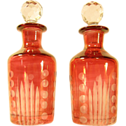 Pair of Antique Bohemian Ruby Cranberry Glass Perfume Bottles