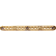 Art Deco 18k Yellow Gold Diamond and Sapphire Brooch Bar Pin