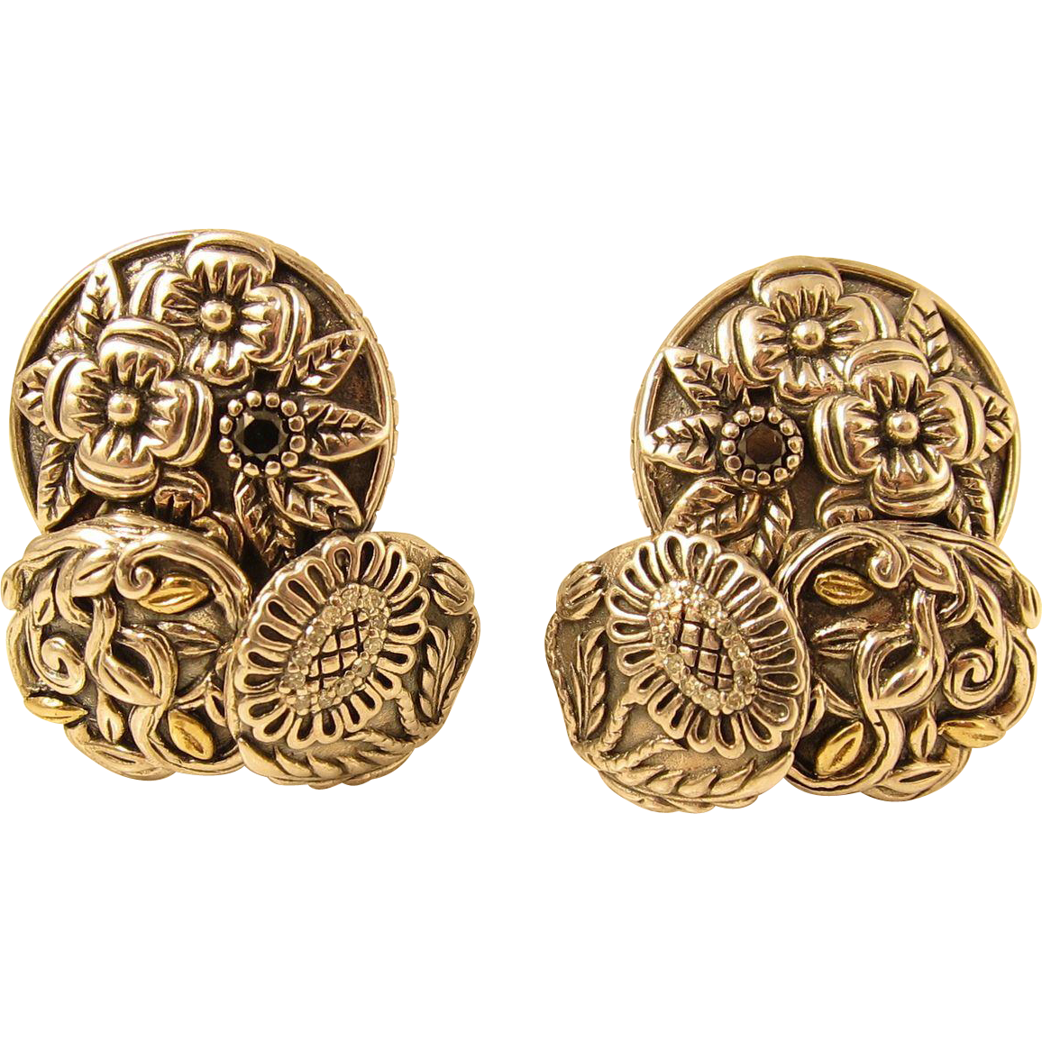 Beautiful Sterling Silver & 14k Gold Diamonds Clip On Earrings by Stephen Dweck 1990s