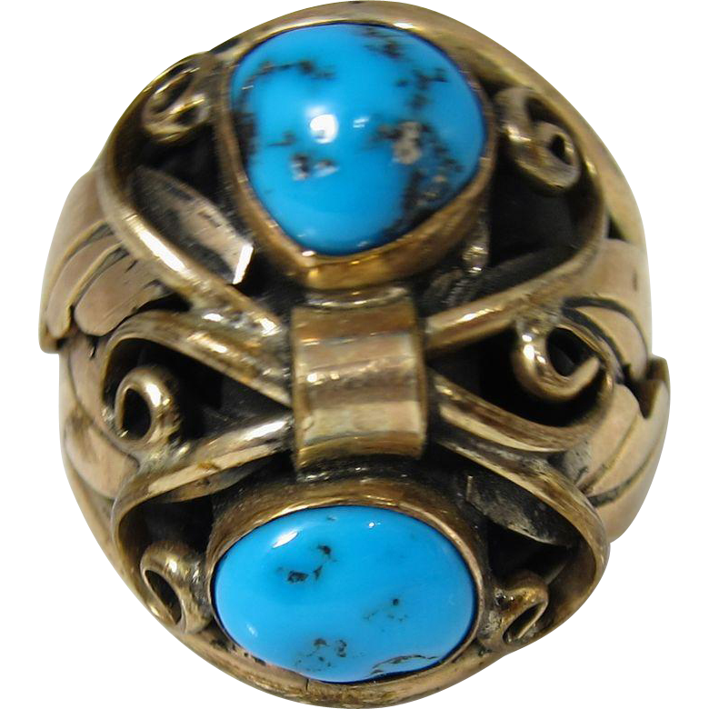 Vintage Navajo Gilt Sterling Silver & Blue Turquoise Ring by A. J. Platero
