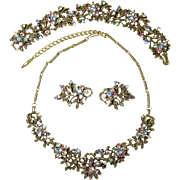 Vintage Multi-Color Rhinestone Coro Set Necklace, Bracelet & Earrings