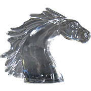Vintage 1970s French Crystal Large Horse Head Figure by Daum, France