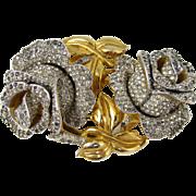 1940 Gold Toned Roses Coro Duette Fur Clip Brooch Pin A. Katz