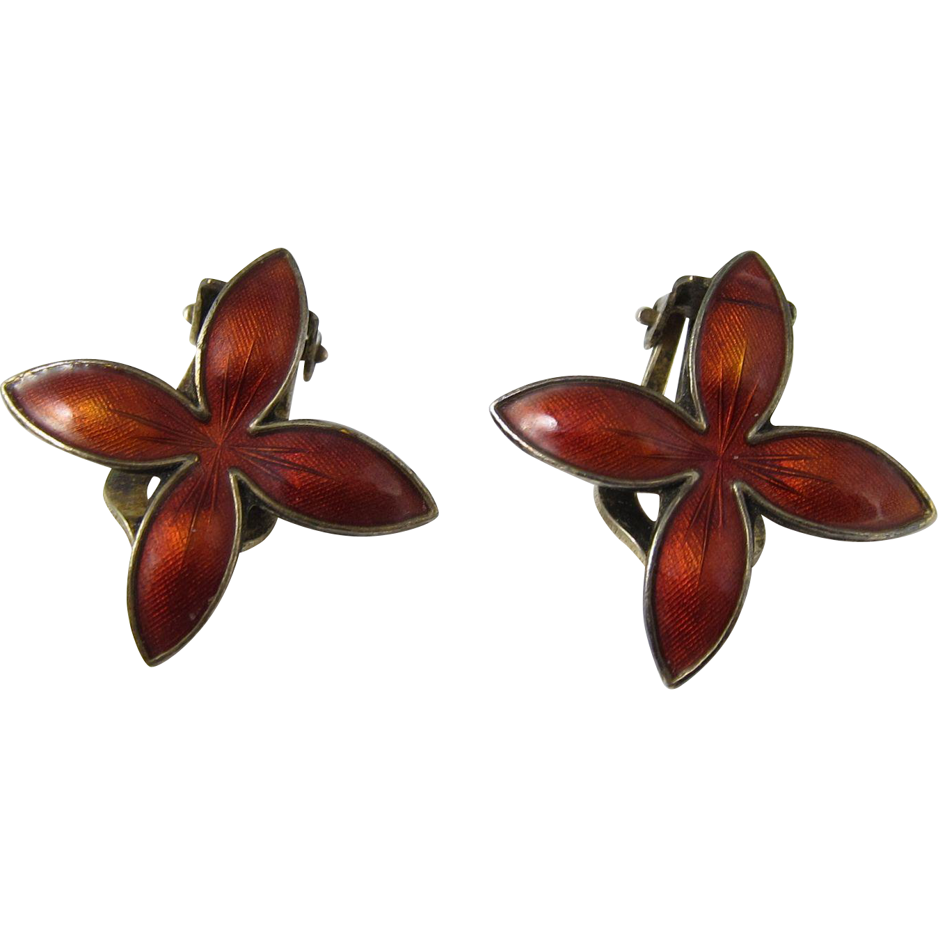 Vintage Norwegian 925 Sterling Silver & Red Enamel Clip Earrings