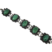Vintage South American 900 Silver & Green Stones Large Link Bracelet