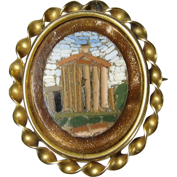 Vintage 10k Yellow Gold Micro Mosaic Pin Brooch Pantheon