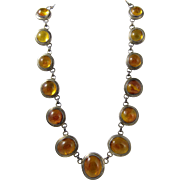Vintage 800 Silver & Polish Natural Baltic Amber Necklace Poland 1980s