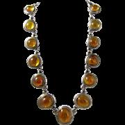 Vintage 800 Silver & Polish Natural Baltic Amber Necklace Poland 1980s