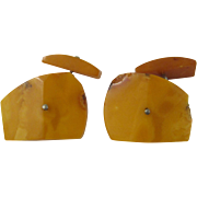 Vintage Egg Yolk / Butterscotch Baltic Amber Cufflinks Cuff Links