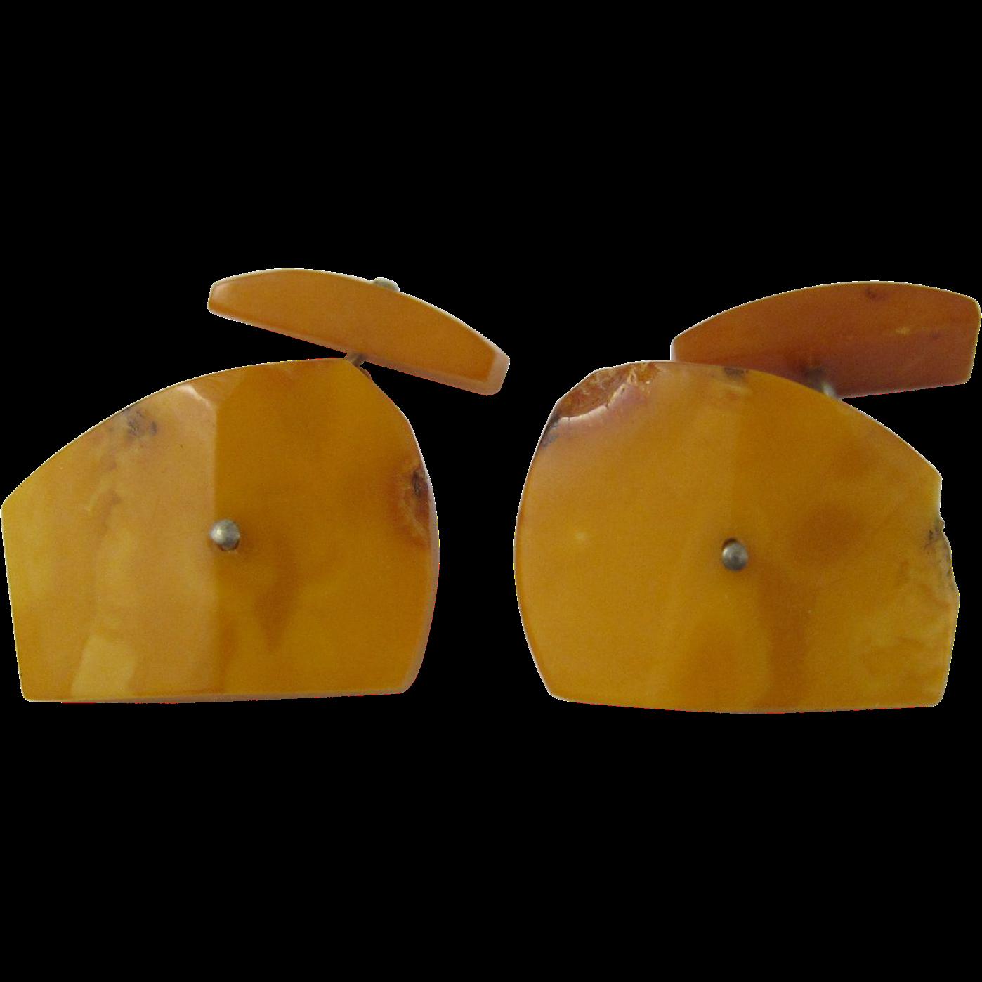 Vintage Egg Yolk / Butterscotch Baltic Amber Cufflinks Cuff Links