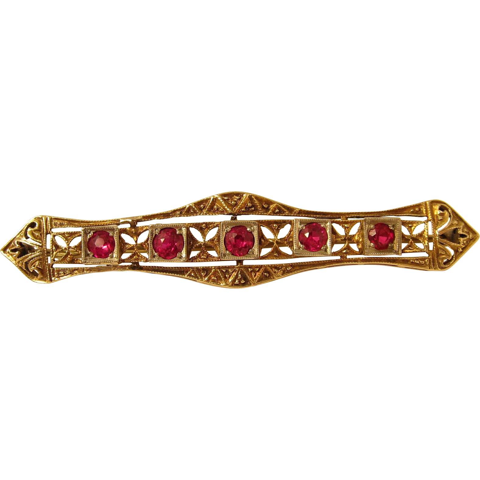 Vintage Art Deco 14k Yellow Filigree Gold & Rubies Bar Pin Brooch