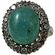 Vintage 14k White Gold Emerald Cabochon and Diamond Ring