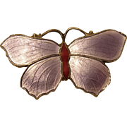 Vintage Sterling Silver & Purple Enamel Butterfly Pin Brooch by John Atkins & Son