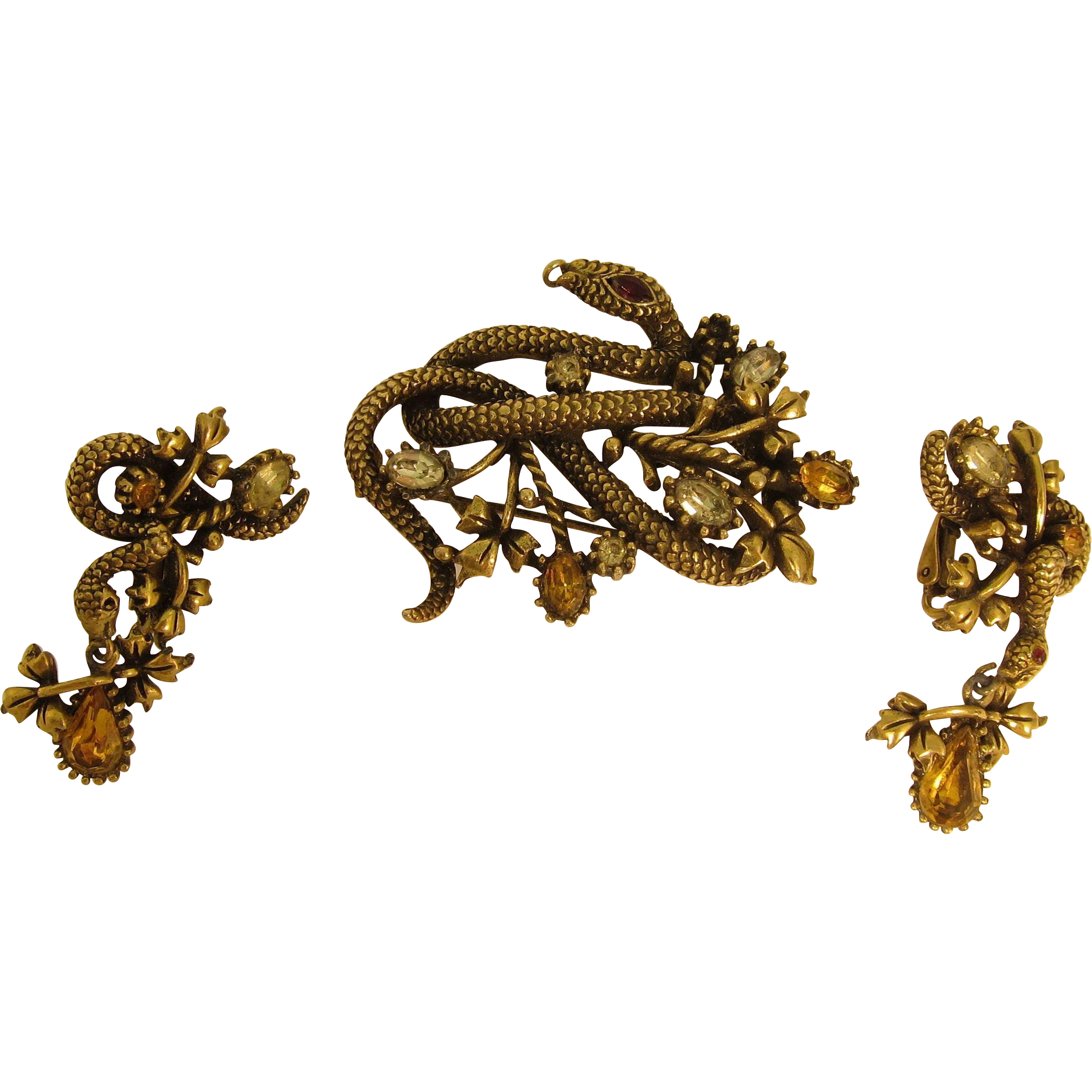 Vintage Coro Snake Brooch / Pin and Earrings Set