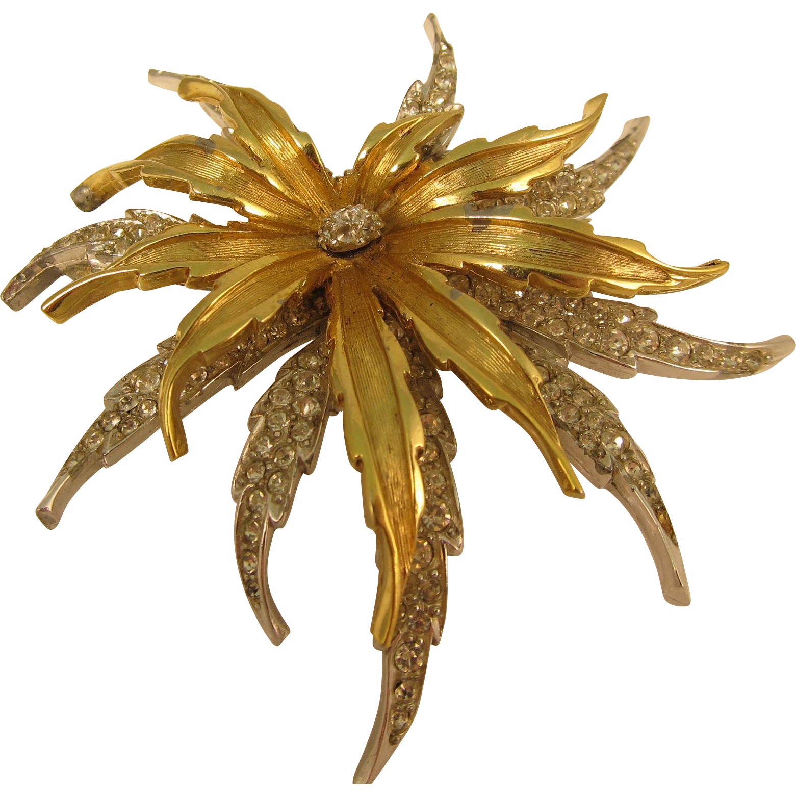 Vintage Stunning Gold Plated Boucher Brooch Pin 1950s