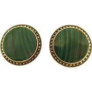 Vintage Sterling Silver and Green Malachite Round Earrings by Judith Jack