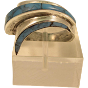 Modernist Mexican Sterling Silver & Turquoise Ring Taxco