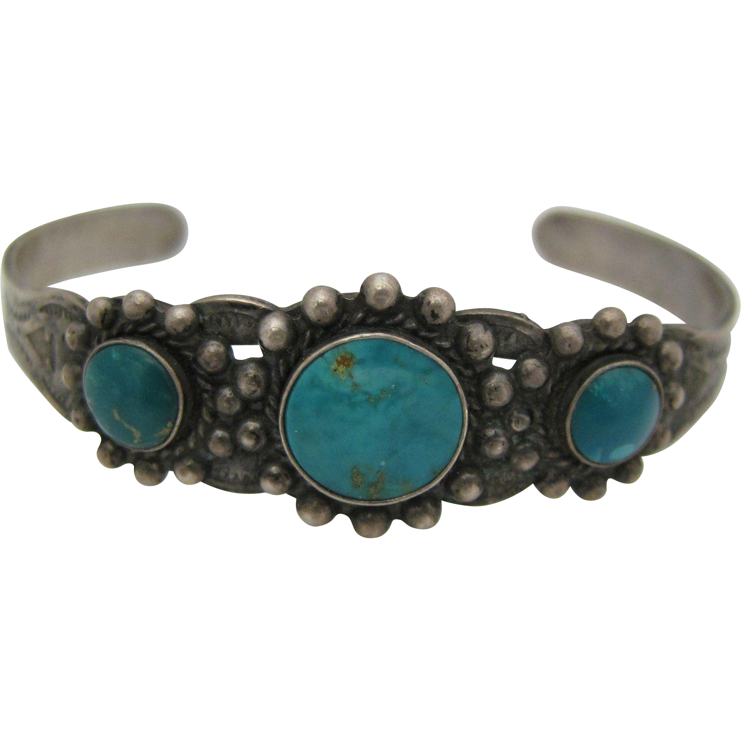 vintage american sterling silver turquoise cuff