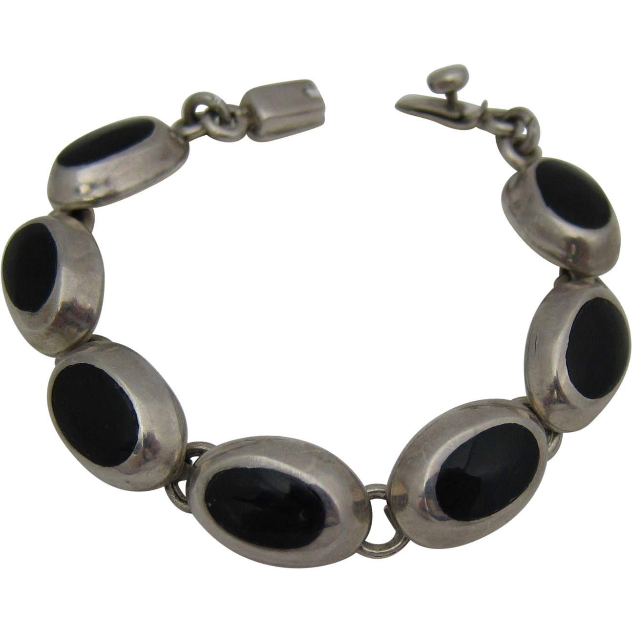Vintage Mexican Sterling Silver & Black Onyx Link Bracelet Mexico 1980s