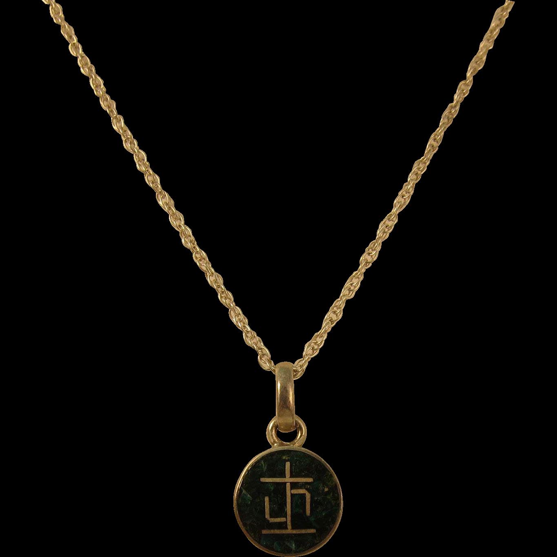Vintage Silver Necklace w/ 950 Sterling Silver Malachite & Lapis Pendant
