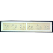 English Pen And Ink Sketch Of Cats Cartoon Illustration Strip Signed by Louis Wain