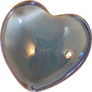 Vintage Baccarat Crystal Puffy Blue Heart Paperweight France