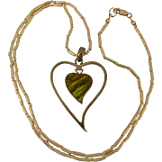 Vintage 925 Sterling Silver Abalone & Mother of Pearl Heart Pendant Necklace