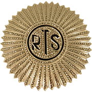Art Deco 925 Sterling Silver Marcasites RTS Monogram Round Brooch Pin