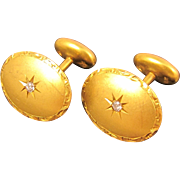 Vintage 1940s 10k Yellow Gold & Diamonds Cufflinks