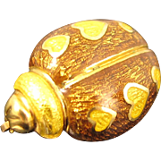 Vintage 18K Yellow Gold & Enamel Ladybug Brooch Pin