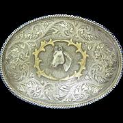 Vintage Western Large Horse Belt Buckle Sterling Silver Overlay 10k Signed
