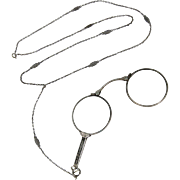 Antique Victorian Sterling Silver Folding Eye Glasses Lorgnette w/ Chain