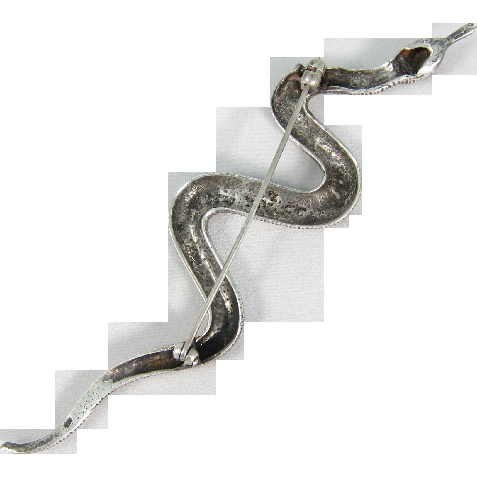 Vintage Sterling Silver Marcasite Snake Brooch Pin
