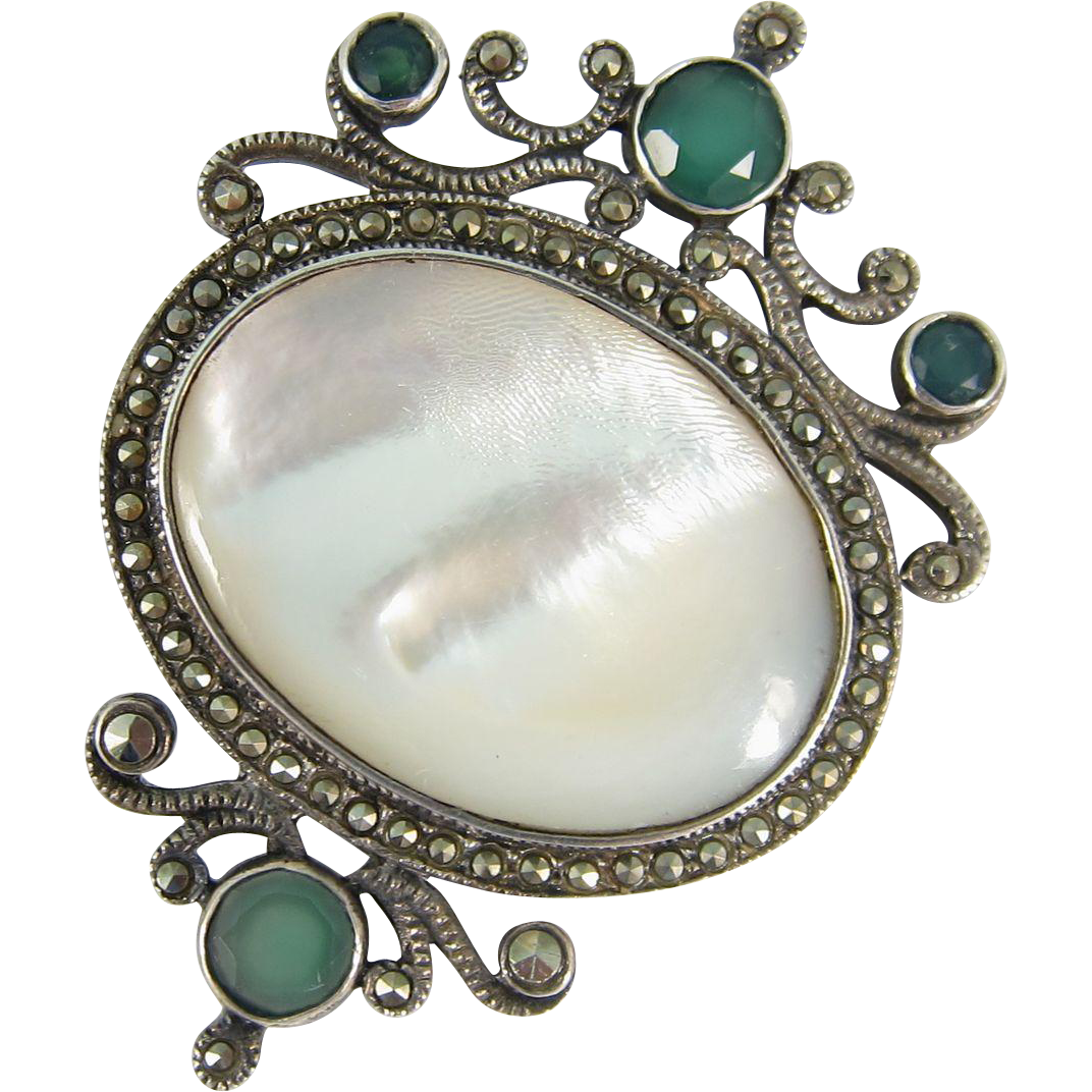 Vintage 1940s Sterling Silver Mother of Pearl Green Stones Brooch Pin