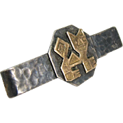"""Vintage Sterling Silver 18k Yellow Gold Mexican Tie Clip """"Old Cuzco"""""""