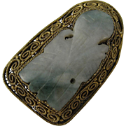 Vintage Gilt Filigree Silver and Carved Nephrite Chinese Pin Brooch