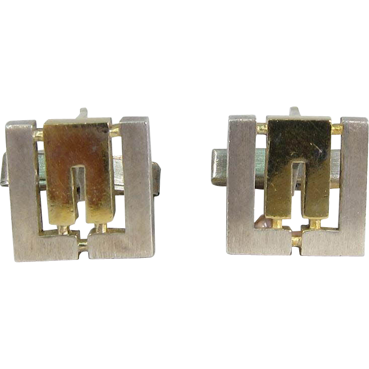 Modernist Polish Sterling Silver & Gilt Cufflinks Geometric Design Warsaw Poland