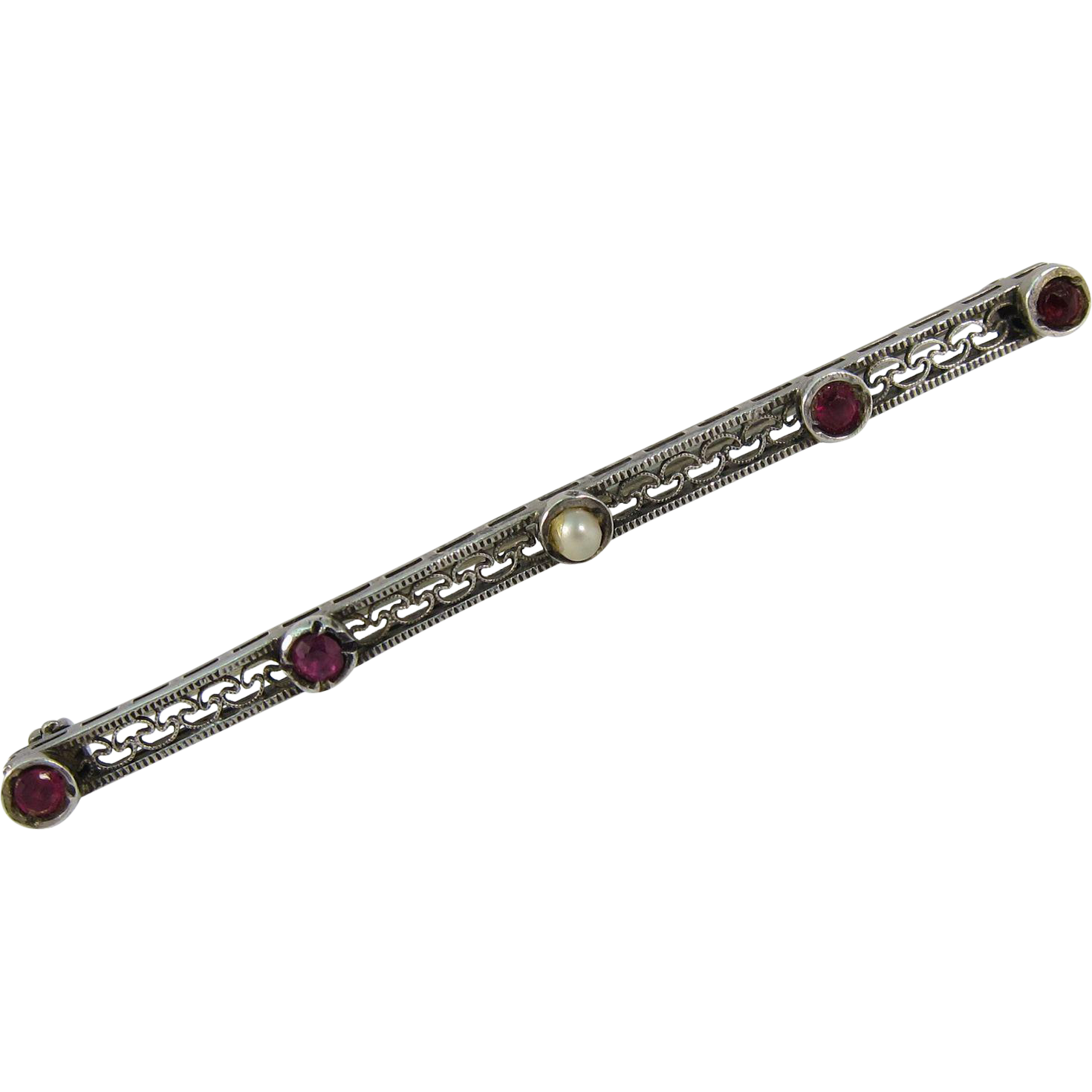 Art Deco Filigree Sterling Silver Bar Pin