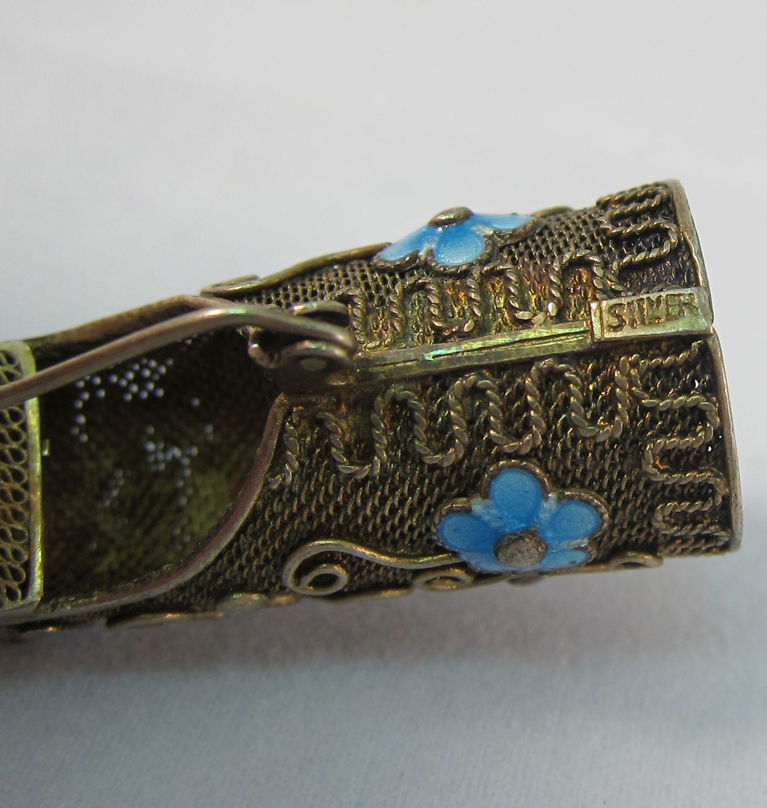 Vintage Chinese Gilt Silver & Enamel Coral Turquoise ...