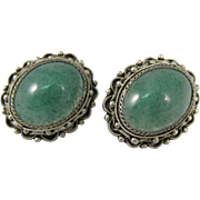 Vintage 916 Filigree Silver & Green Jade Screw-back Earrings 1970s