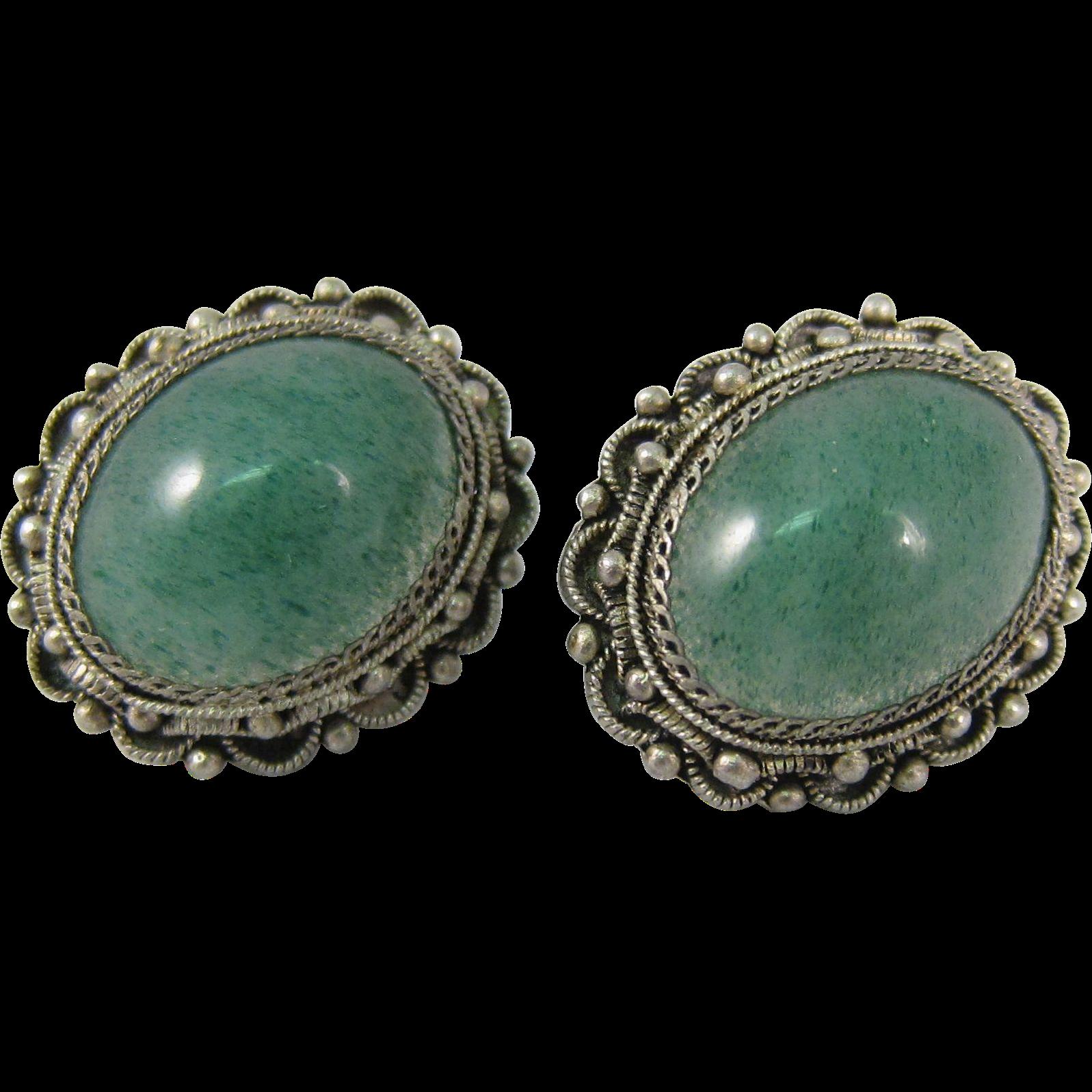 Vintage 916 Filigree Silver & Green Jade Screw-back Earrings 1970s