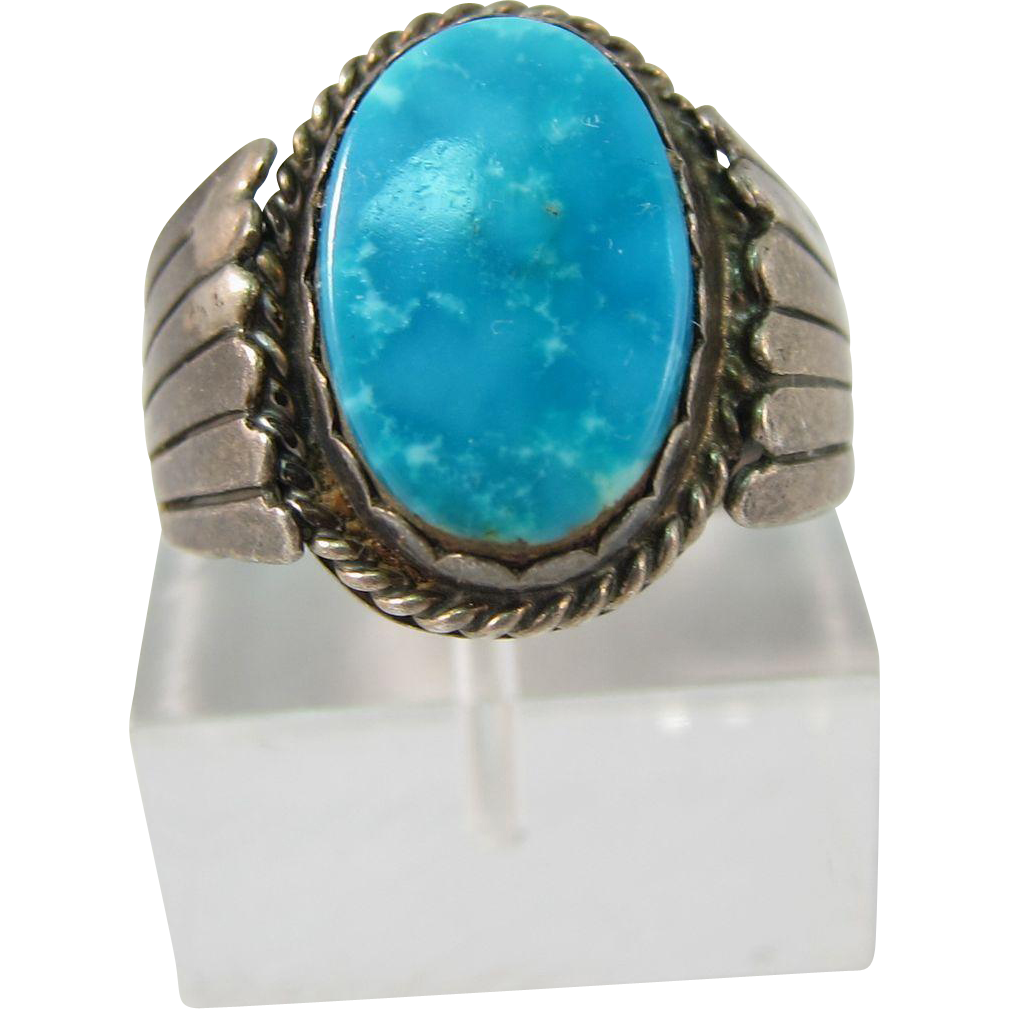 vintage south western sterling silver turquoise ring