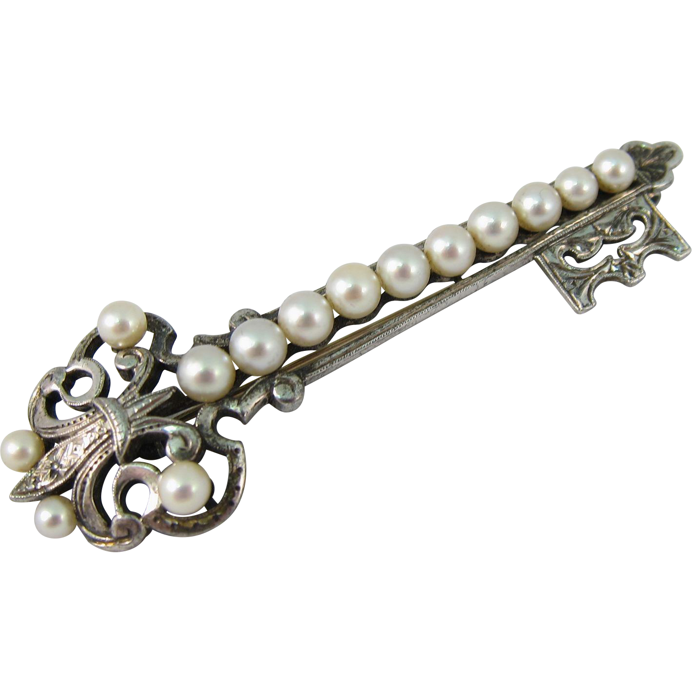 Vintage Sterling Silver Mikimoto Cultured Pearls Key Brooch Pin