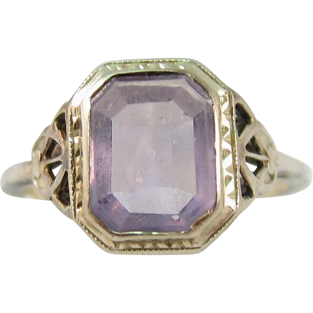 Art Deco 14k White Gold Amethyst Ring 1920s